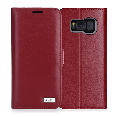 Price comparison product image FYY Galaxy S8 Plus Case,[RFID Blocking wallet] Premium Genuine Leather 100% Handmade Wallet Case Credit Card Protector for Samsung Galaxy S8 Plus Wine Red
