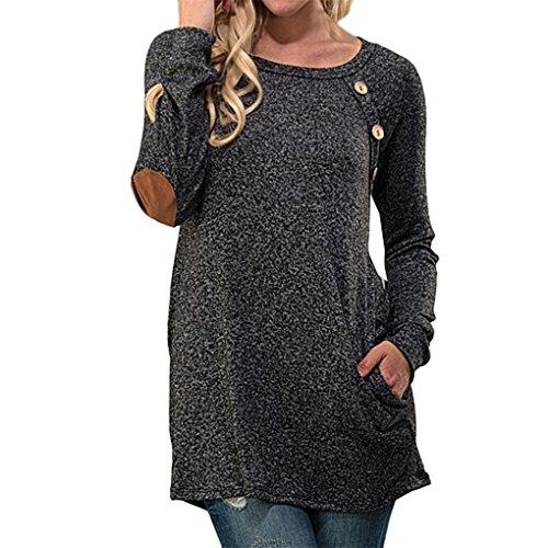Women Blouse,Haoricu Fall Women Long Sleeve Slim Patchwork Button Casual Blouse Loose T Shirt (XL, Gray)