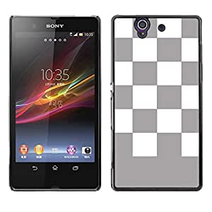 Graphic4You Checkered Pattern Design Thin Slim Rigid Hard Case Cover for Sony Xperia Z (Gray)