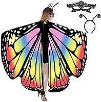 JERXUNY Halloween Costume Butterfly Wings Shawl for Women Fairy Adult Soft Butterfly Wings Ladies Cape Rainbow
