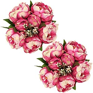 SHACOS Artificial Silk Peony Flowers Bouquets 2 Pack Fake Peony Flowers Stems 14 Separate Peonies Flowers Buds Leaf Table Centerpiece (Pink Peony) 1