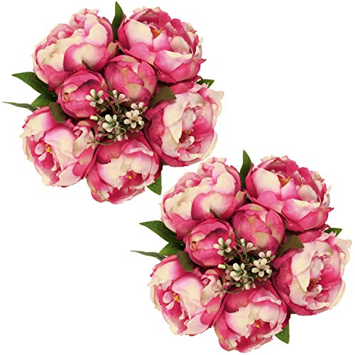 SHACOS Artificial Silk Peony Flowers Bouquets 2 Pack Fake Peony Flowers Stems 14 Separate Peonies Flowers Buds Leaf Table Centerpiece (Pink Peony)