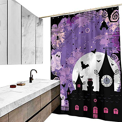 Jiahong Pan Vintage Halloween,Waterproof Shower Curtains Towers and Bats Shower Hooks are Included,Multicolor,W72 xL72