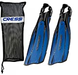 Cressi Pro Light Open Heel Diving Fin, Blue with Bag, X-Small - US Men's 8/10