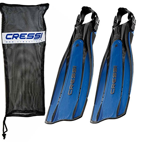 - Cressi Pro Light Open Heel Diving Fin, Blue with Bag, X-Large - US Men's 14/15