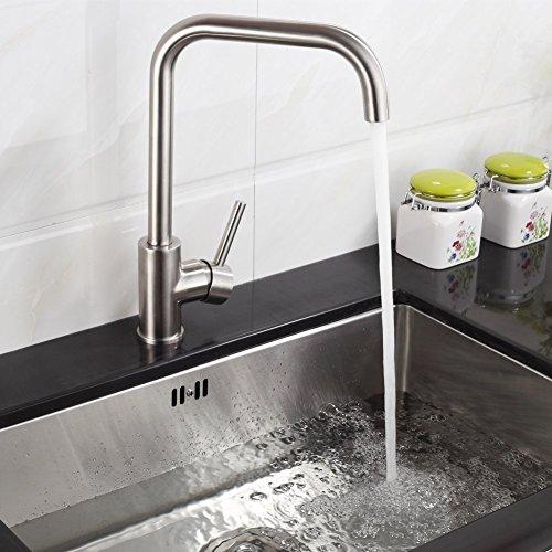 Fapully 2 Jahre Garantie Gebürstet Silber Küchearmatur Mischbatterie Spültischarmatur 360°Drehbar aus Edelstahl SUS304 mit ABS Bubbler Kann Wasser 30% Sparen 7 Zeichen für Küche Waschbecken