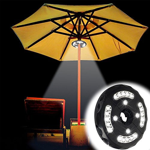 (Upgraded) Battery Powered Patio Umbrella Light,Geekeep Cordless Umbrella Pole Light with 3 Dimmable Brightness Modes,24 LEDS at Max 300 Lumens for Patio Umbrella, Camping and Outdoor Use by Geekeep