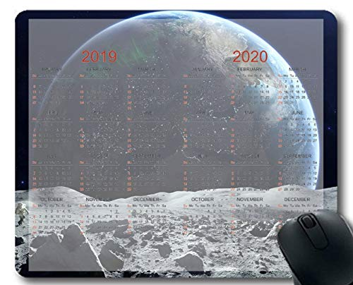 Flying Pig Man 2019-2020 Calendar Pads,Space Space Overlooking Astronauts Planet Moon Nature Gaming Mouse mats (Multi 129)