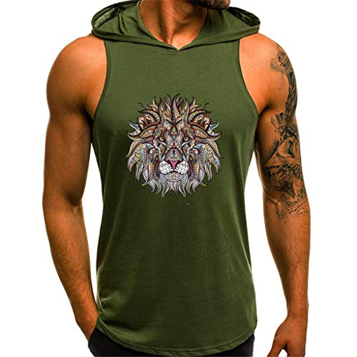 Mens Fashion Lion Printing Style Sport Casual Shirts Sleeveless Hoodie Tops Green