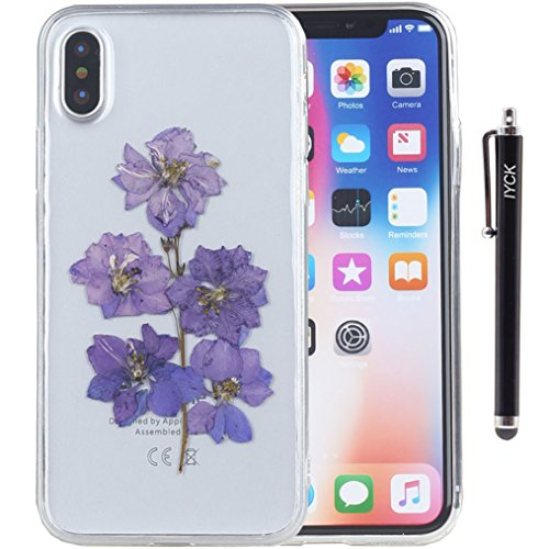 iPhone X Case, iPhone Xs Case, iYCK Handmade [Real Dried Flower and Leaf Embedded] Pressed Floral Flexible Soft Rubber TPU Protective Back Case Cover for Apple iPhone X/Xs 5.8inch - -