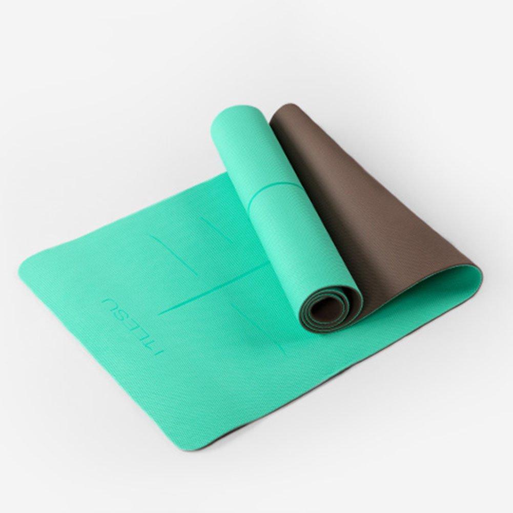 QIDI Yogamatte Rutschfest TPE Fitness Tanzen Aerobic-Matte 183  66  0,6cm (Farbe : Grün)
