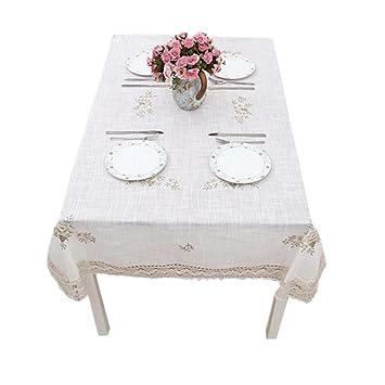Manteles Rural hecho a mano ganchillo bordado gamuza de lino blanco gris mesa de café gamuza