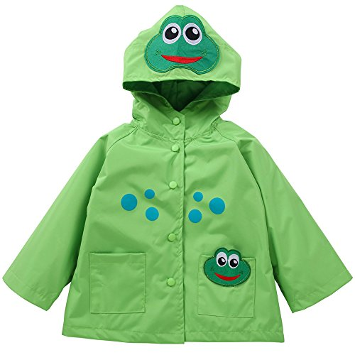 Waterproof Rainwear Windbreaker Hooded Raincoat Cute Long Sleeve Outwear Jacket for Boys and Girls,Green,4T(For Age - Raincoat Frog