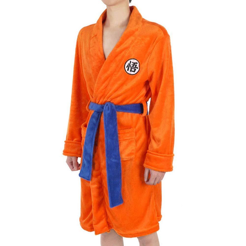 L//XL Herren Soft Warm Comfortable Cotton Self Tie Langer Bademantel Bademantel Loungewear Robe OLLOLCCY Son Goku Bademantel mit GO Schriftzug Gr/ö/ße