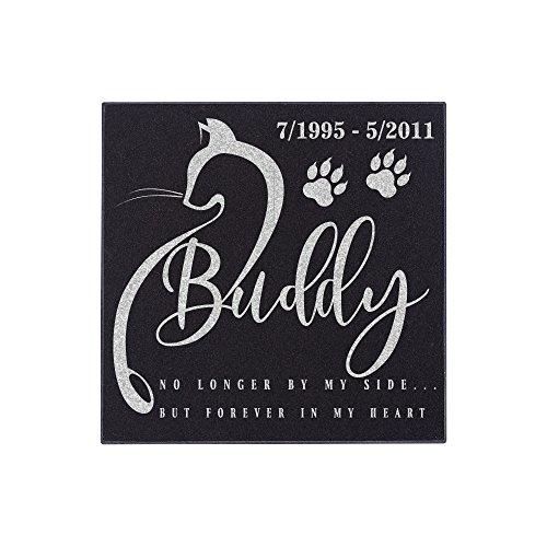Cat Memorial Stone (Nineteen85studio Personalized Pet Grave Marker for Cats Free Customization Memorial Headstone DSG#4)
