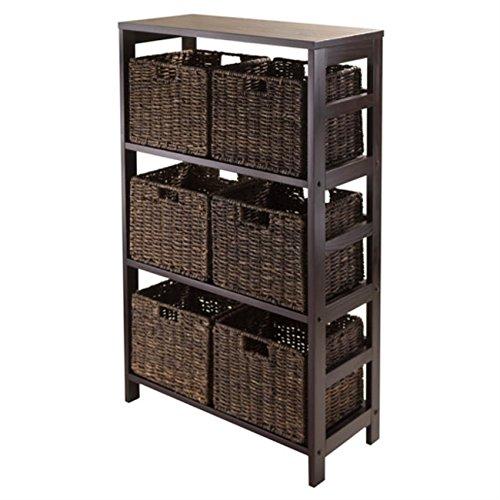 Granville 7pc Storage Shelf with 6 Foldable Baskets, Espresso by Ergode