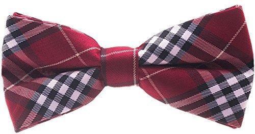 Bowtie - Maroon Plaid (Polyester Plaid Tie)