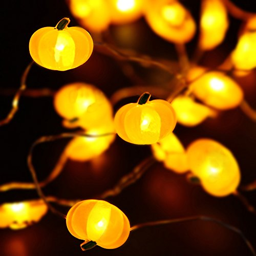 Halloween Lights, 40 LED Pumpkin String Lights for Indoor, Halloween Christmas Decorations, Battery (Halloween Pumpkin Lights Led)