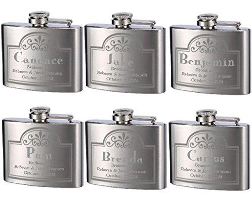 Top Shelf Flasks Personalized Custom Engraved 4oz Stainless Steel Flasks for Weddings, True Metal Etching Lasts a Lifetime, 6PK ()