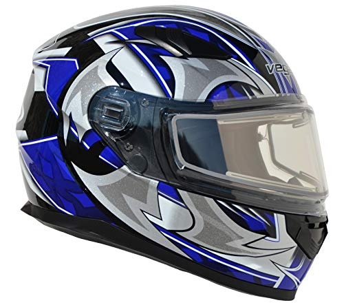 (Vega Helmets Ultra Electric Snow Unisex-Adult Full Face Snowmobile Helmet with Heated Shield (Blue Shuriken Graphic,)