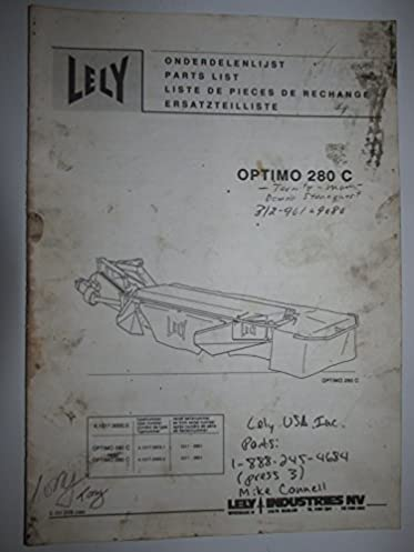 lely optimo 280 c disc mower parts list manual catalog original rh amazon com Lely Disc Mower Dealers Lely Fertilizer Spreader Parts