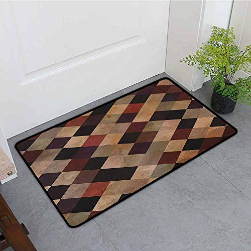 Aged Sake - ONECUTE Indoor Doormat,Grunge Antique Looking Checkered Pattern in Brown Tones Vintage Grid Artistic Aged Display,Rustic Home Decor,31