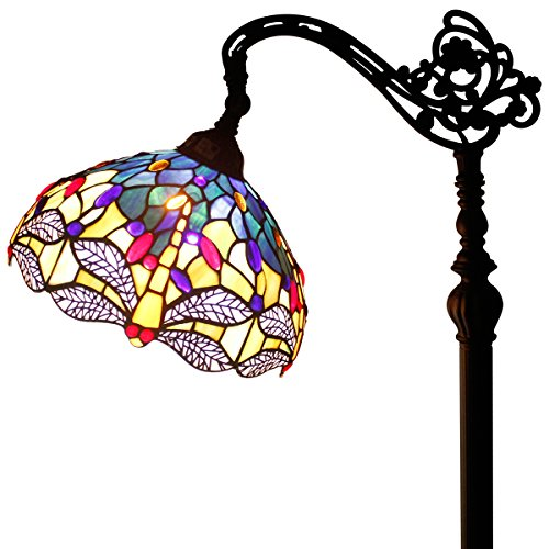 Tiffany Style Reading Floor Lamp Blue Dragonfly Table Desk Lighting H64 inch
