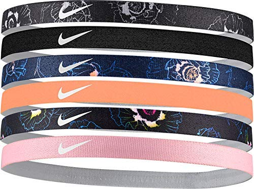 NIKE Women's Printed Assorted Headbands  6 Pack (Black/Obsidian, One Size)