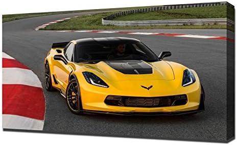Amazon De Pingoo Prints 2016 Chevrolet Corvette Z06 C7 R Edition Kunstdruck Leinwand Mehrfarbig
