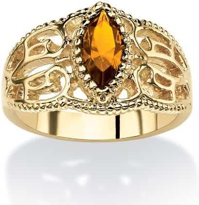 Marquise-Cut Birthstone 14k Gold-Plated Filigree Ring - November - Simulated Citrine