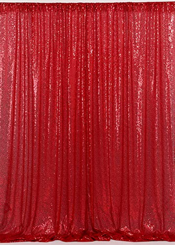 QueenDream 4ftx6.5ft Red Christmas Sequin Backdrop - Red Backdrop Photography and Photo Booth Backdrop for Wedding/Party/Photography/Curtain/Birthday/Christmas/Prom/Other Event Decor