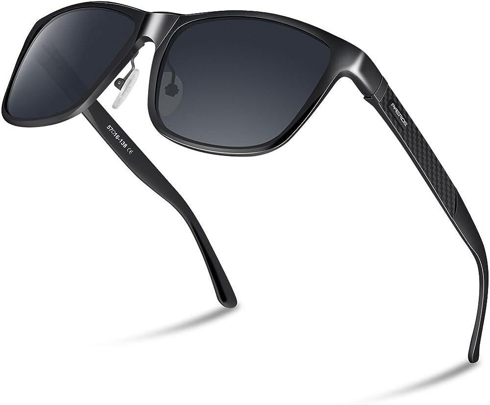 PAERDE Gafas de sol hombre Lente polarizada Gafas de conducción Al-Mg Marco de metal Gafas retro unisex