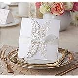 VStoy Lot de 20 faire-part pour mariage avec rubans Motif dentelle florale