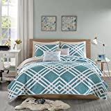 Intelligent Design Hailey Twin/Twin XL Quilt Bedding Set - Teal, Blue, Geometric – 4 Piece Teen Girl Boy Bedding Quilt Coverlets – Ultra Soft Microfiber Bed Quilts Quilted Coverlet