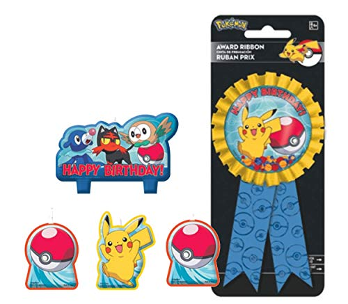 Pikachu Birthday Candles & Confetti Pouch Birthday Ribbon for Guest of Honor! ()
