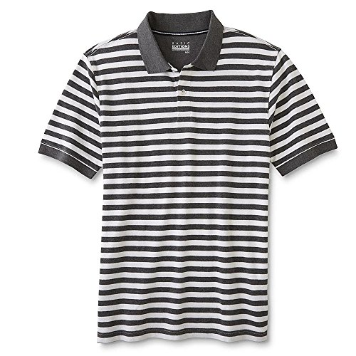 Basic Edition Mens Big & Tall Classic Striped Cotton Pique Short Sleeve Polo Shirt (Quiet Shade, - Clothing Stores Shade