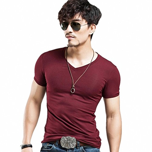 Baby Johnny Cash Costume (Clothing 10 colors elastic V neck Men T Shirt Mens Fashion Tshirt Fitness Casual Male T-shirt 5XL V Wine Red S)