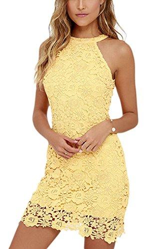 La Mujer Elegante Cuello Redondo Cortado Bodycon Mini Vestido De Encaje De Ganchillo De Slim Yellow