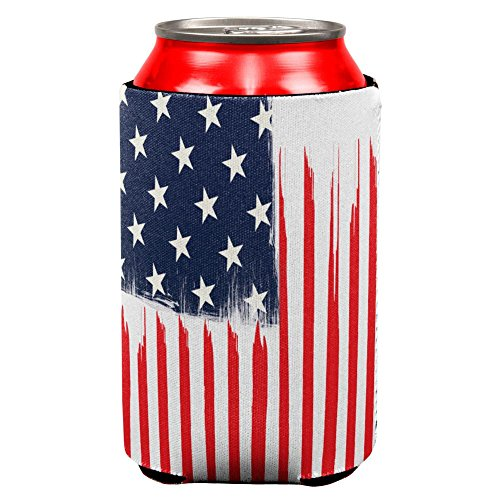 4th of July Brushed American Flag All Over Can Cooler Multi Standard One Size