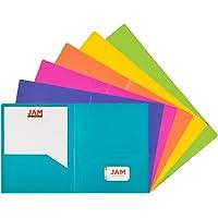JAM PAPER Heavy Duty Plastic 2 Pocket School Folders - Assorted Fashion Colors - 6/Pack