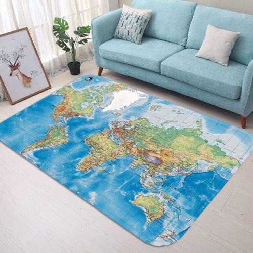 H40cmxW60cm 3D World Map 51 Non Slip Rug Mat Room Mat Quality Elegant Photo Carpet