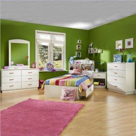 South Shore Logik Kids Pure White Twin Wood Mates Storage Bed 4 Piece Bedroom Set by South Shore