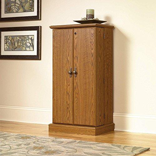 Multimedia CD DVD Oak Finish Storage Cabinet Organizer Unit Shelf Accent Furniture Living Room Bedroom Kitchen Home Office Shelves Display Decor Decoration Drawer