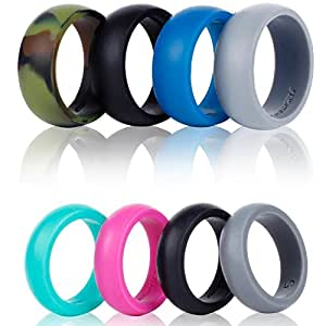 Silicone Wedding Ring Band-4 Pack-Safe Flexible Comfortable Medical Grade Love Rings Set for Men Women- Fit for Sports & Outdoors, Workout, Fitness, Athletes, Engineers+ Gift Box-Syourself (Women 4)