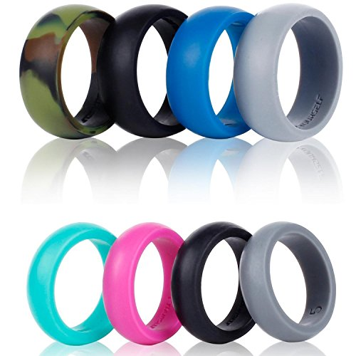 Silicone Wedding Ring Band-4 Pack-Safe Flexible Comfortable Medical Grade Love Rings Set for Men Women- Fit for Sports & Outdoors, Workout, Fitness, Athletes, Engineers+ Gift Box-Syourself (Men 8) - Cheap Skin Suit
