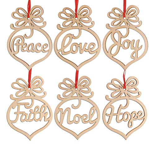 Healifty 6pcs Wooden Christmas Tree Decorations Ornaments Hanging Hollow Out Heart Peace Love Joy Faith Noel Hope Christmas Craft Embellishments