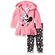 Disney Baby Girls' Minnie Mouse 2 Piece Hooded Top and Legging Set, Sachet Pink, 3-6 Months
