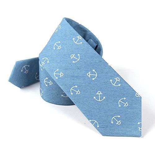 Casual Blue 100 Cotton Neckties Ties Skinny Men's 6 JOOWEN Lignht Anchor 5CM Printed Denim xOgq84CUwU