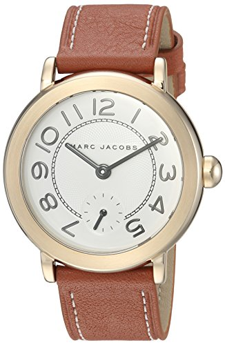 Riley Stainless Steel Japanese-Quartz Watch with Leather Calfskin Strap, Brown, 18 (Model: MJ1574) ()