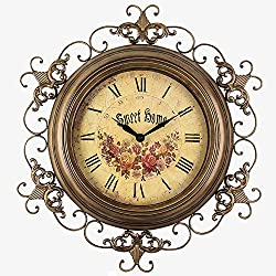 Linbing123 Pastoral Wrought Iron Wall Clock 18 Inch, Silent Non-Ticking, Quality Quartz Numbers Battery Operated Round Pretty Clock for Bedroom/Office